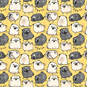 Pug Poses - parchment yellow