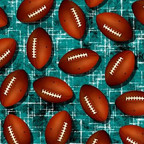 Footballs on black w white accent pattern teal grunge texture fall sports