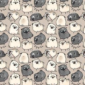 Pug Poses - parchment