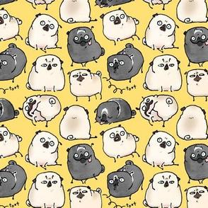 Pug Poses - yellow
