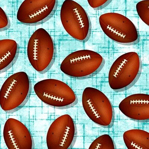 Footballs on white w teal accent pattern turquoise grunge texture sports