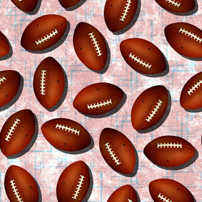 Footballs on white w blue accent pattern pink grunge texture fall sports