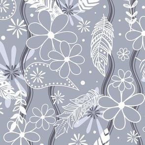 Feathers flowers paislies boho - Small - slate blue white