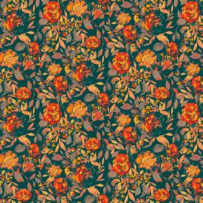 farmhouse floral teal medium scale