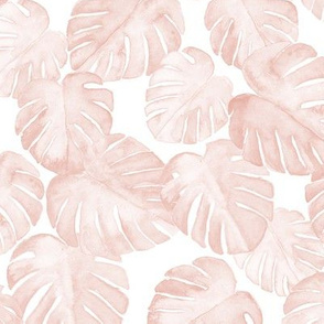 (med scale)  watercolor monstera leaf - dusty pink C19BS