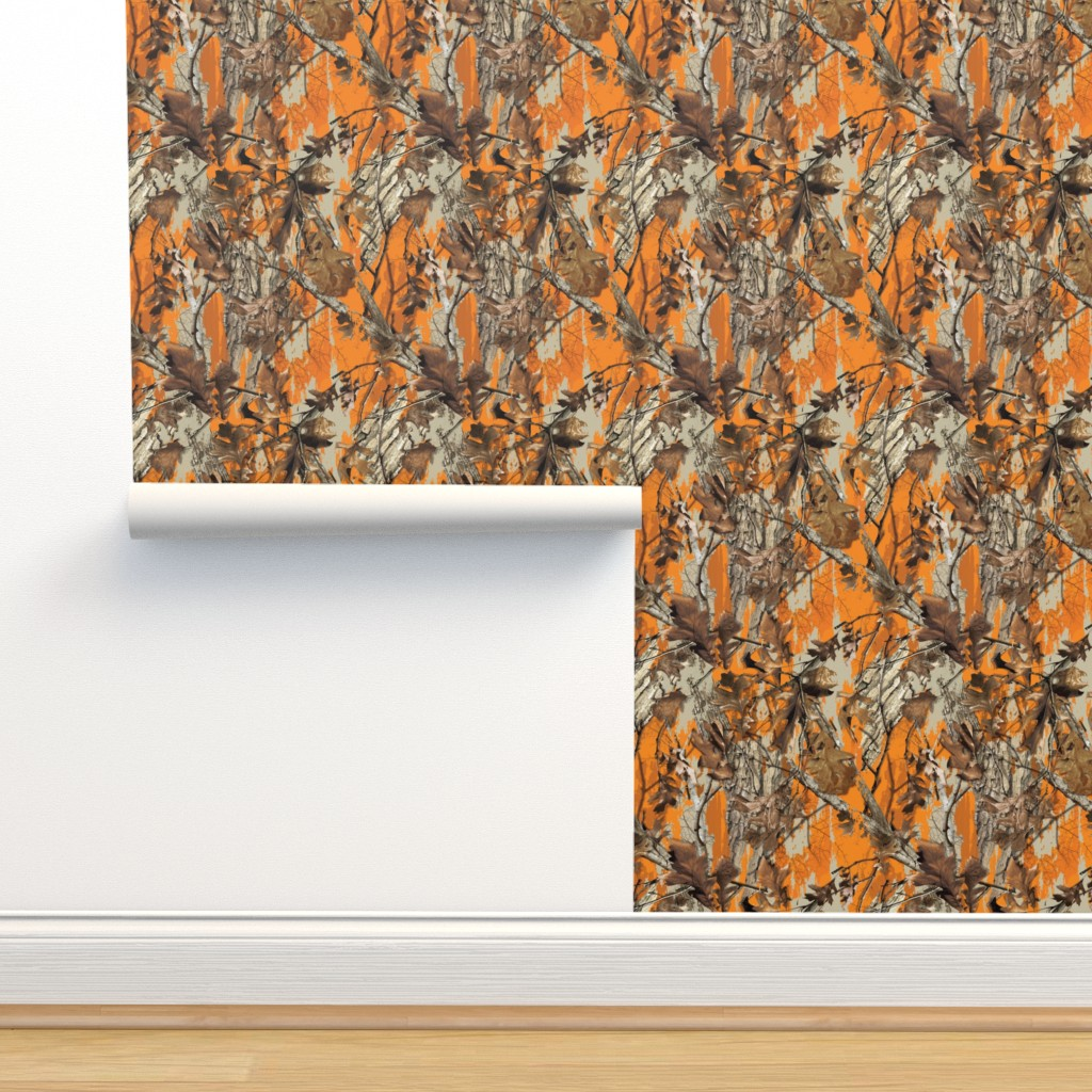 Isobar Durable Wallpaper featuring Traml™ Camouflage Orange by mb4studio