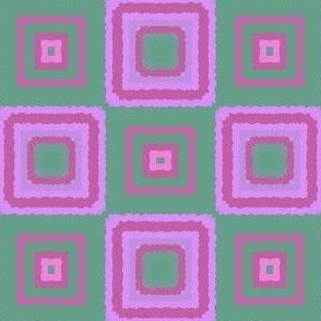 Lilac Pink and Green Tiled Squares