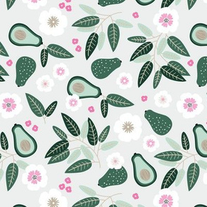 Sweet summer avocado leaves and botanical vegan branch and flowers  garden mint green pink