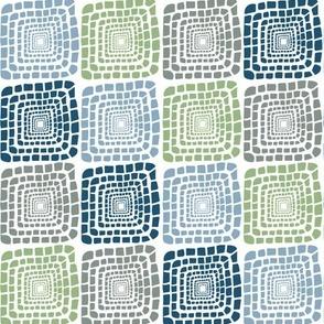 Bohemian Sandcastles-Slanted Blues, gray, light green