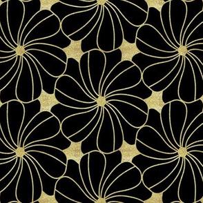Gold Glitter Floral on Black