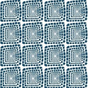 Bohemian Sandcastles-Dark Blue squares -Medium scale