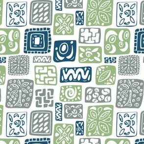 Little Boxes-Vintage: Blue green gray *small version