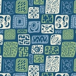 Little Boxes-Vintage-limited palette: Lt  blue, green, & cream on dark blue *small version