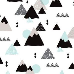Geometric fuji japan mountain illustration winter woodland  JUMBO