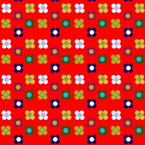 Red flowers mat by Kaorina