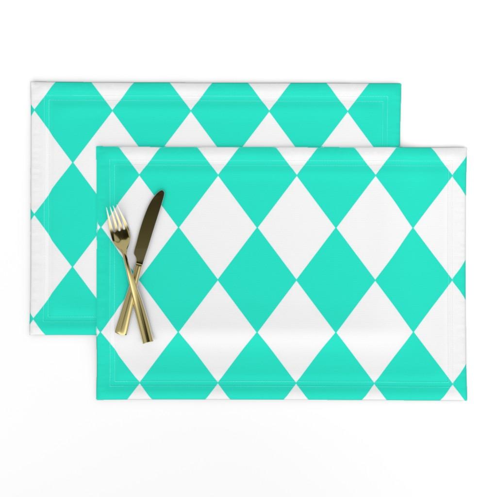 Lamona Cloth Placemats featuring Aqua Gift Box Blue Modern Diamond Pattern by paper_and_frill