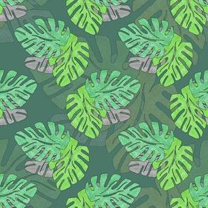 Metallic Tropical Leaves Green