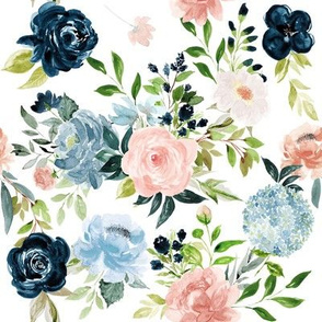 Blush and Indigo Whimsy Florals // White