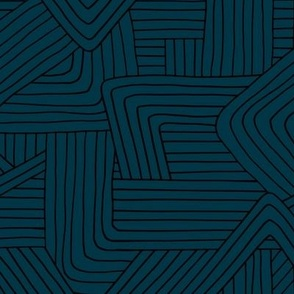 Little Maze stripes minimal Scandinavian grid style trend abstract geometric print winter navy blue