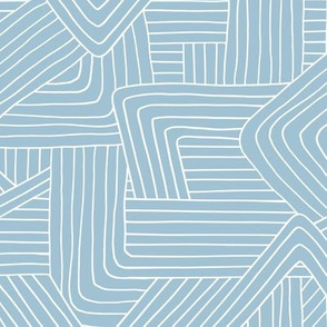 Little Maze stripes minimal Scandinavian grid style trend abstract geometric print monochrome baby blue