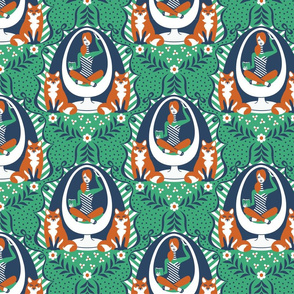 Egg Chair Foxes Emerald