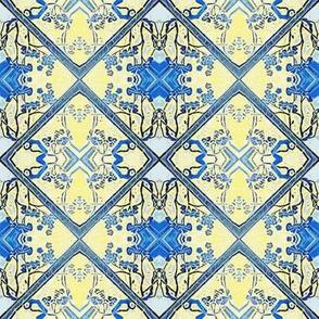 Blue and Yellow Imitation Brocade