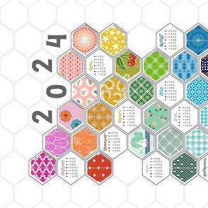 2021 Rainbow Hexies Tea Towel Calendar* || hexagons cheater quilt patchwork geometric kitchen diy cut and sew print poster wall hanging