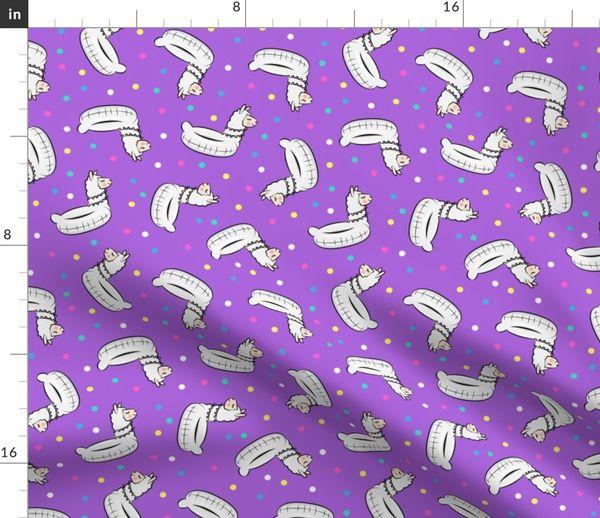 Fabric by the Yard Llama pool floats - summer floaties - dark purple - LAD19