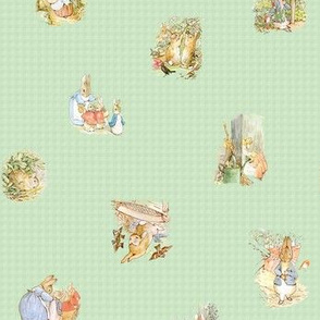 Beatrix Potter Peter Rabbit Toss - Moss Green Gingham - Small Scale
