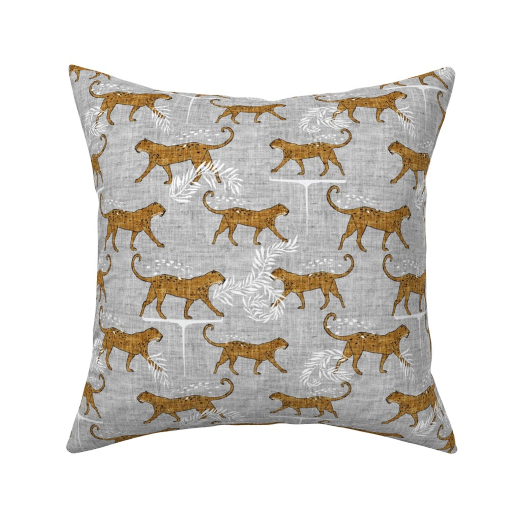 Catalan Throw Pillow featuring Leopard walk (mustard) MED by nouveau_bohemian