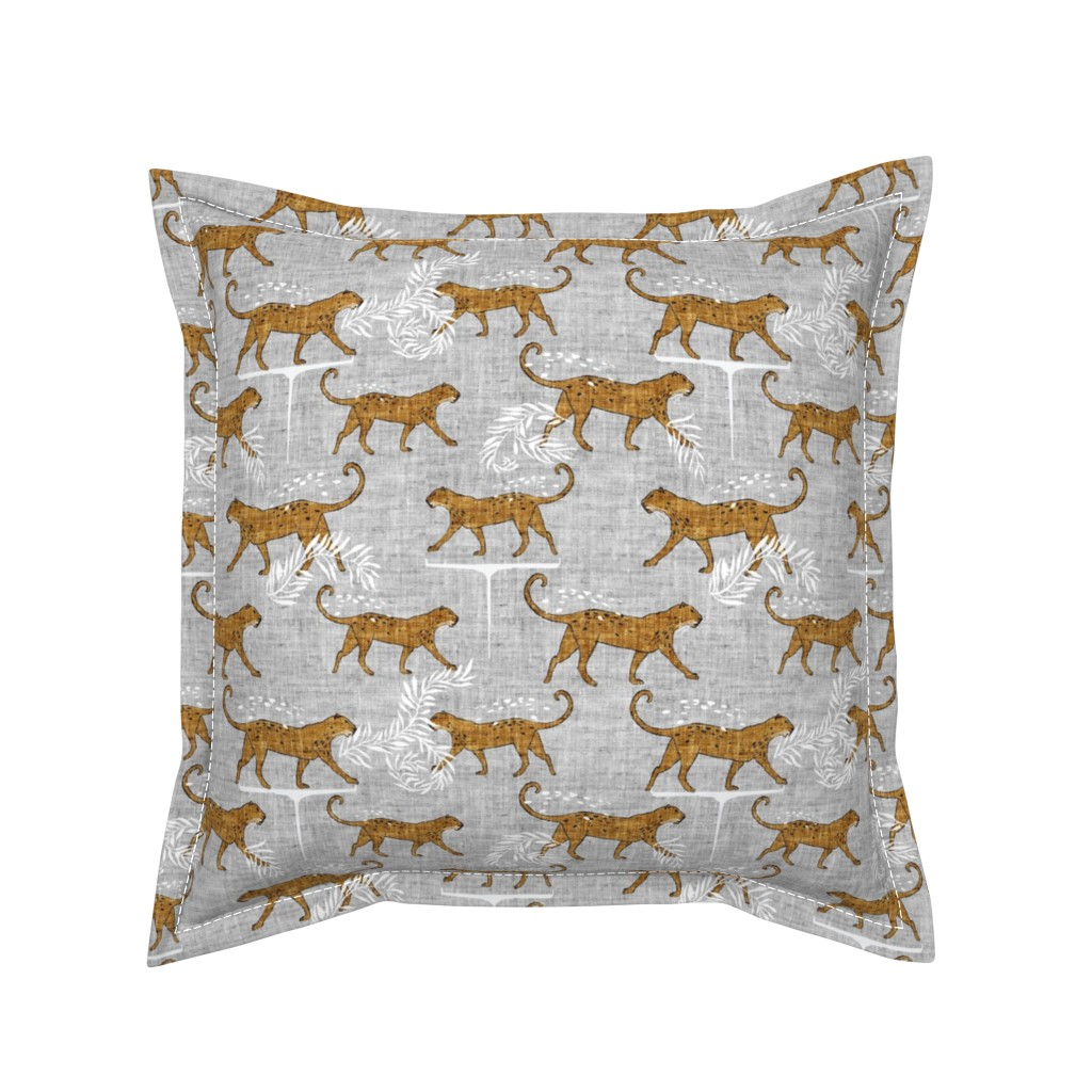 Serama Throw Pillow featuring Leopard walk (mustard) MED by nouveau_bohemian