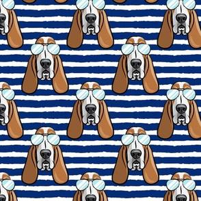 basset hound - sunnies - blue 2 stripes - dogs wearing sunglasses - LAD19
