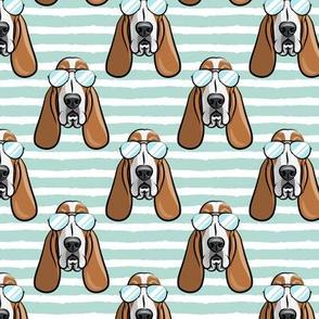 basset hound - sunnies - aqua stripes - dogs wearing sunglasses - LAD19