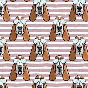 basset hound - sunnies - mauve stripes - dogs wearing sunglasses - LAD19