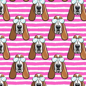 basset hound - sunnies - hot pink stripes - dogs wearing sunglasses - LAD19
