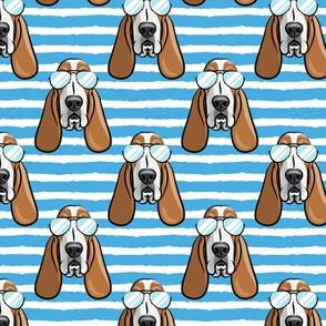 basset hound - sunnies - blue stripes - dogs wearing sunglasses - LAD19