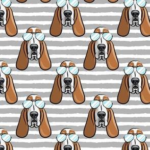 basset hound - sunnies - grey stripes - dogs wearing sunglasses - LAD19