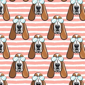 basset hound - sunnies - pink stripes - dogs wearing sunglasses - LAD19