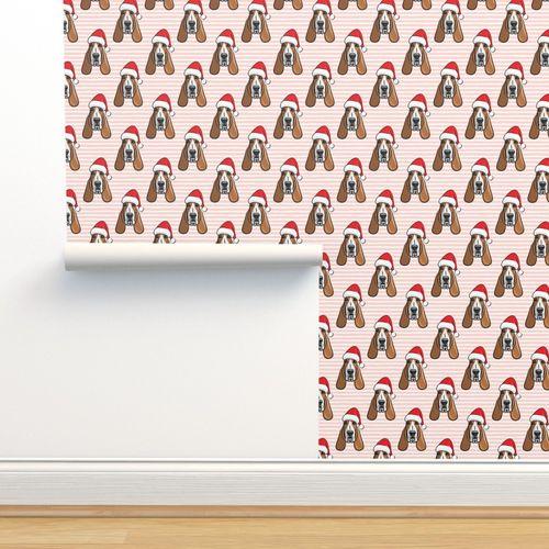 wallpaper christmas basset hounds holiday pink stripes santa hat bloodhounds lad19