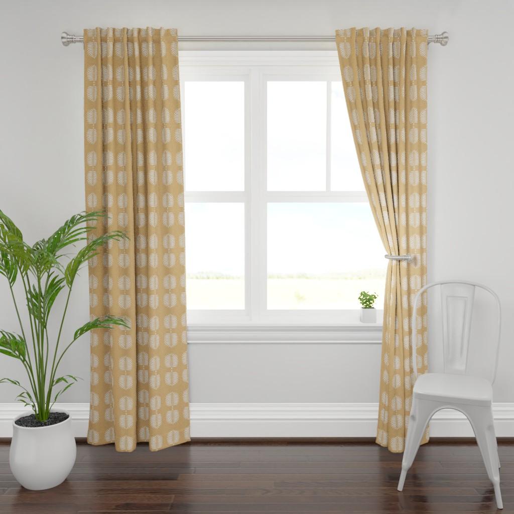 Plymouth Curtain Panel featuring Masai Mara Linen - Onyx Waves by barbara_moffett