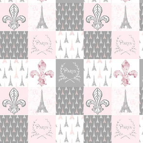 Paris Pink and Gray Patchwork