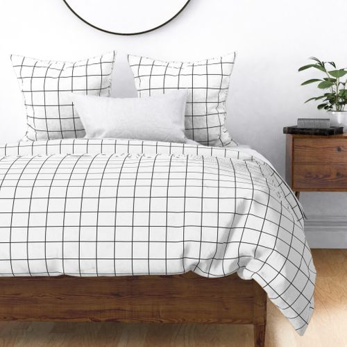 Grid White On Blue Grey by sunny/_afternoon Modern Minimalist Cotton Sateen Pillow Sham Bedding by Spoonflower Grid Pillow Sham