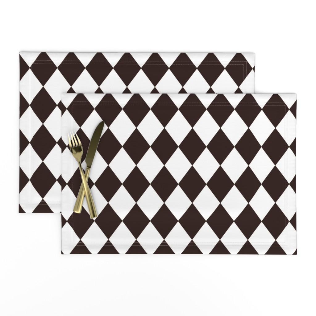 Lamona Cloth Placemats featuring Coffee Chicory Small Modern Diamond Pattern by paper_and_frill