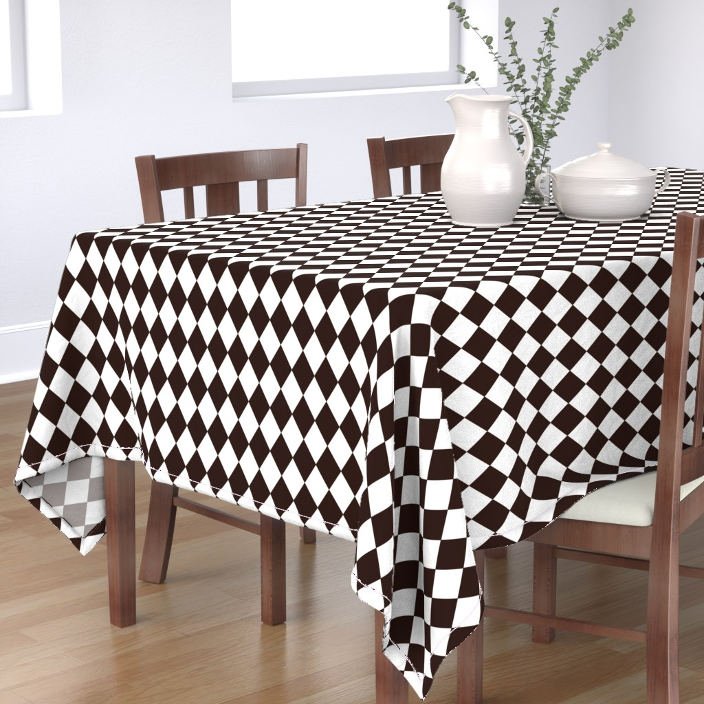 Bantam Rectangular Tablecloth featuring Coffee Chicory Small Modern Diamond Pattern by paper_and_frill