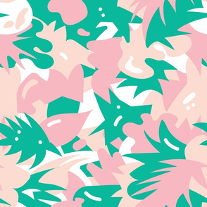 ABSTRACT TROPICAL MIAMI ART DECO FLORAL
