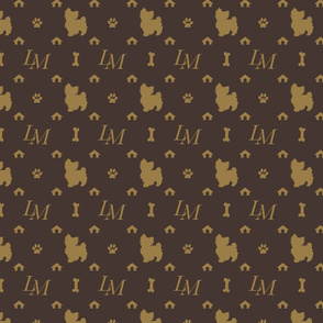 Louis Maltese Dog Brown and Beige Pattern with LM Initials and Bone Motifs