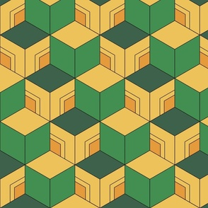 Demon-Slaying Giyu Sabito Green, Yellow, Orange Geometric Hexagon Boxes
