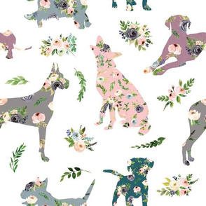 patchwork floral doggy love