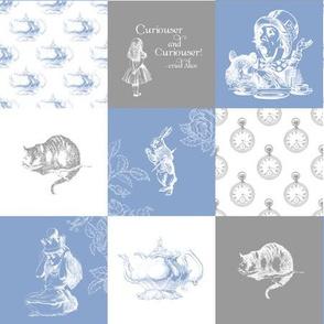 Alice in Wonderland Patchwork blue gray