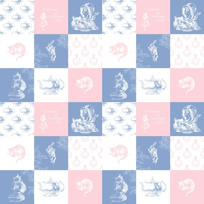 Alice in Wonderland Patchwork pink gray